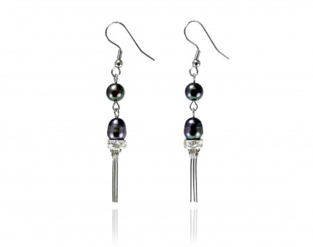 Black Peacock Freshwater Pearl Earrings with Crystals