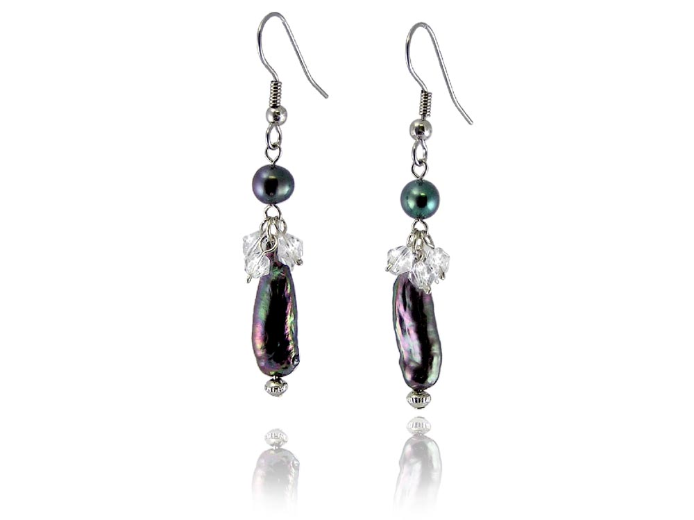 Black Freshwater Pearl Earrings