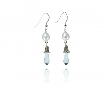 White Freshwater Pearl Earrings with Blue Topaz Briolettes