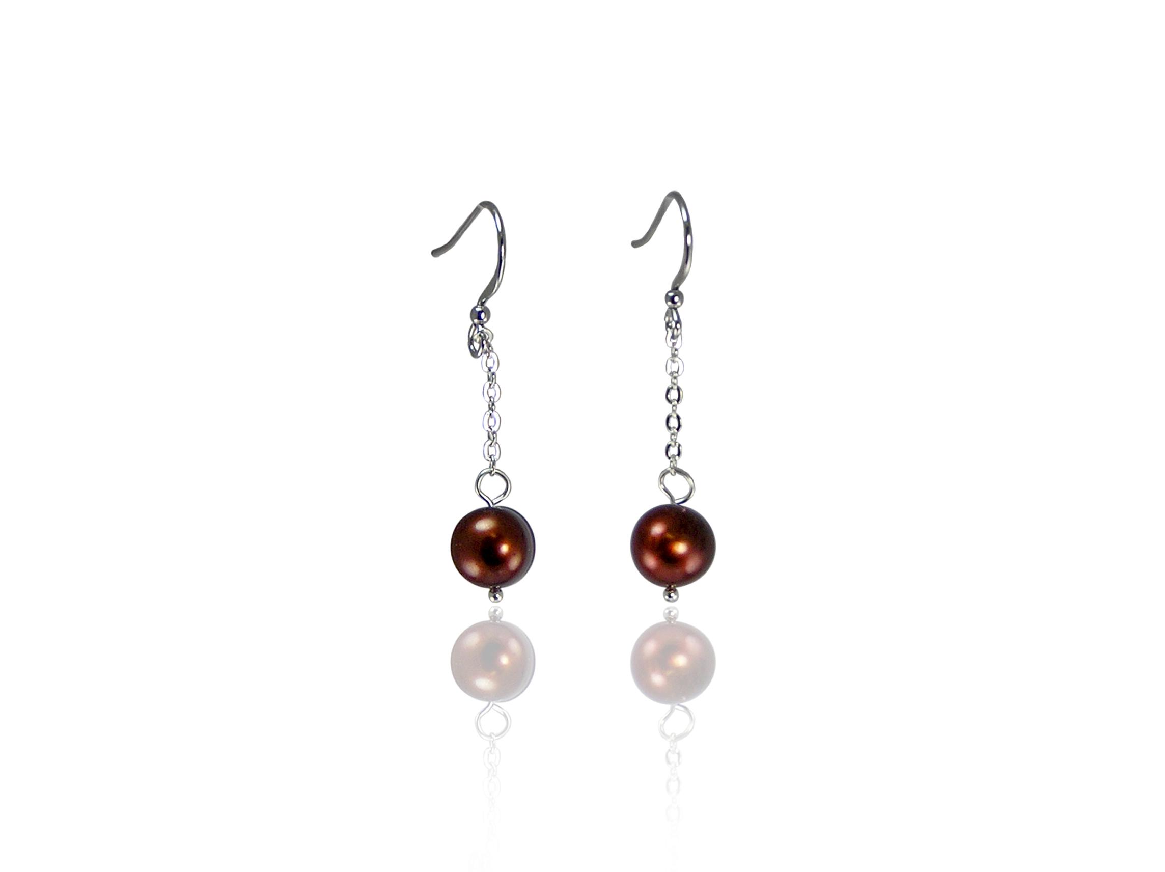 Chocolate Freshwater Pearl Earrings
