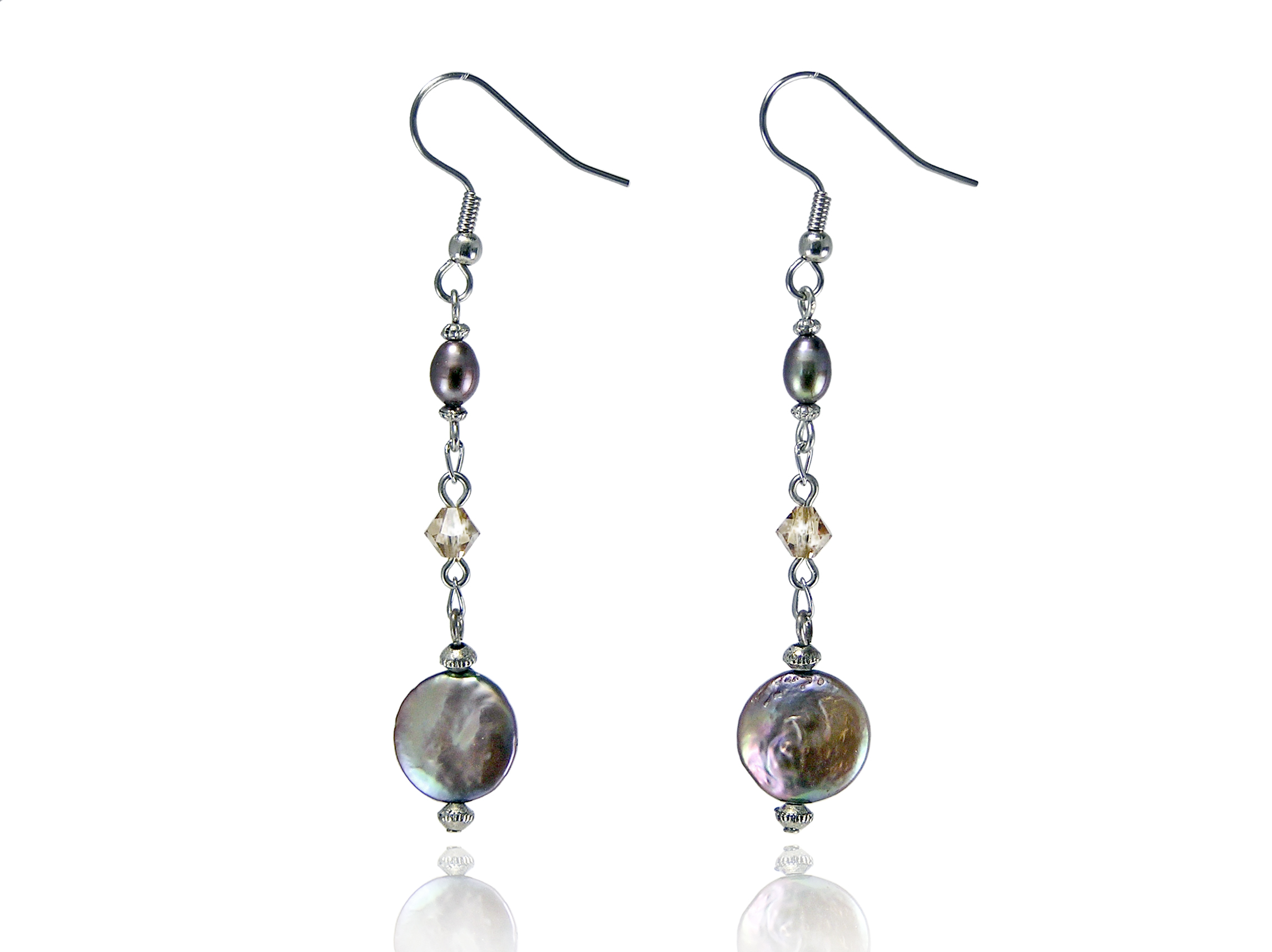 Chocolate Freshwater Coin Pearl Earrings