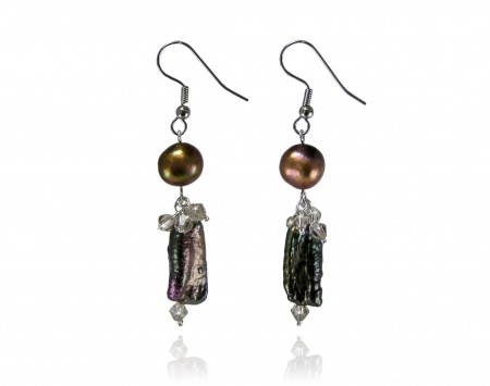 Chocolate Freshwater Stick Pearl Earrings