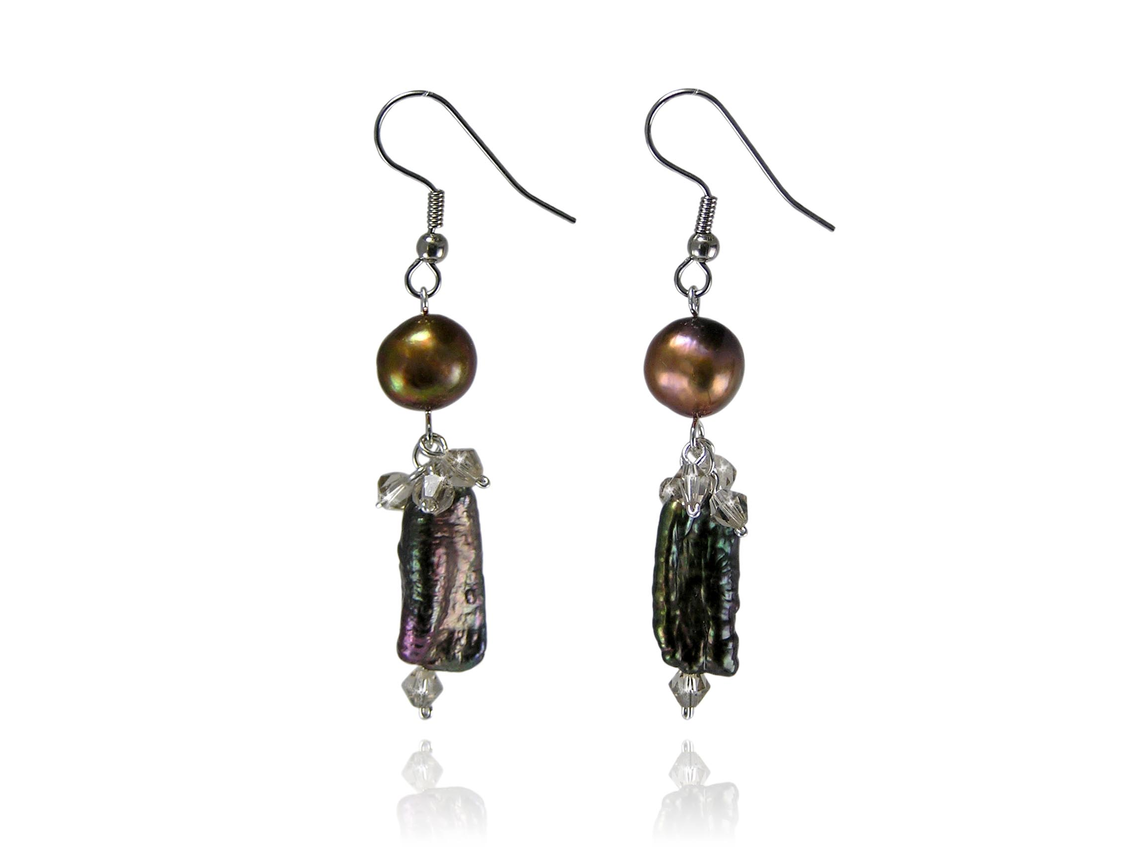 Chocolate Freshwater Stick Pearl Earrings