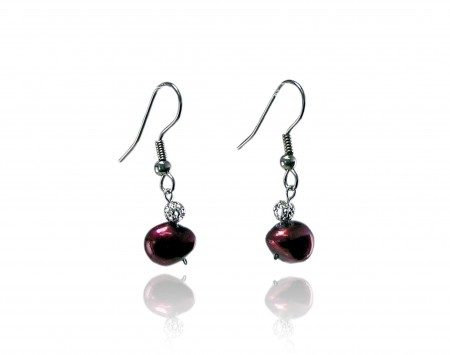 Cranberry Freshwater Pearl Earrings