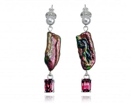 Black Freshwater Stick Pearl Earrings with Garnet
