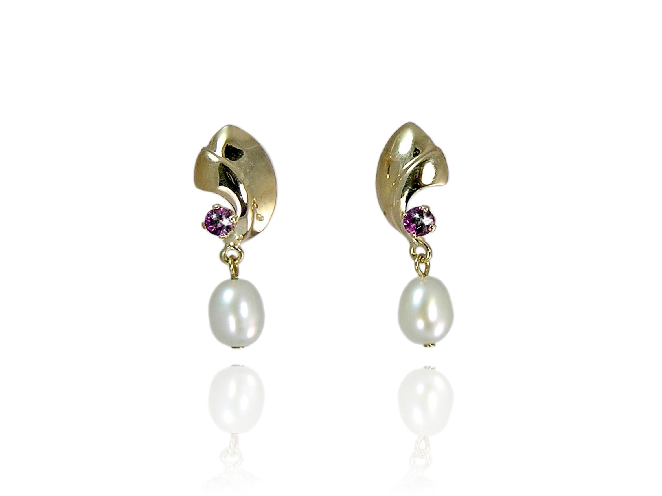 White Freshwater Pearl Earrings with Garnet