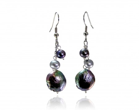 Black Peacock Freshwater Pearl Earrings