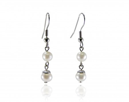 White Freshwater Pearl Earrings With Silver Beads And Wires