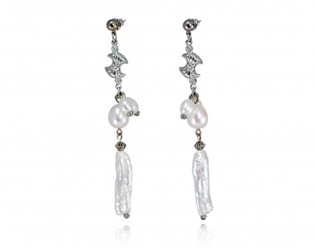 White Freshwater Stick Pearl Earrings