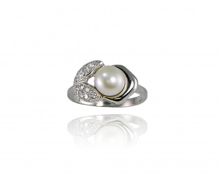 White Freshwater Pearl With Crystals Ring