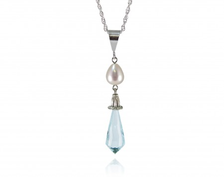 White Freshwater Pearl With Blue Topaz Pendant