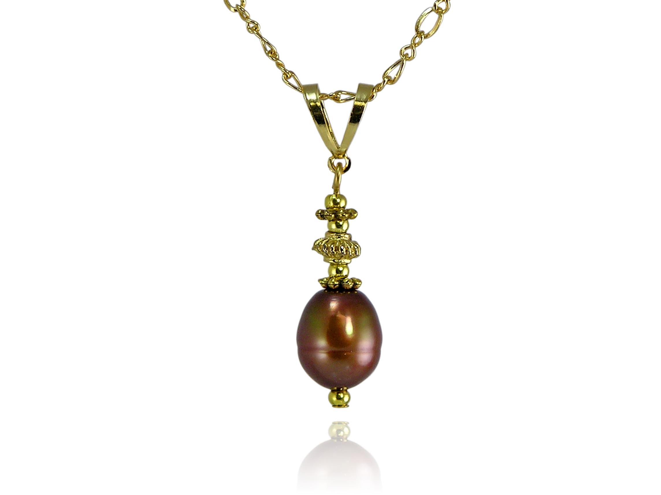 Chocolate Freshwater Pearl Pendant With Crystals