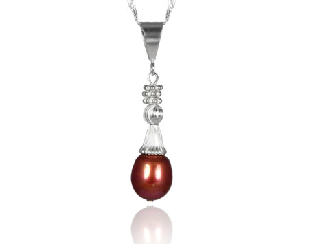 Chocolate freshwater pearl pendant
