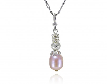 Lillac Freshwater Pearl Pendant With Crystal Elements