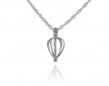 Wish Pearl Heart Cage Pendant With Chain
