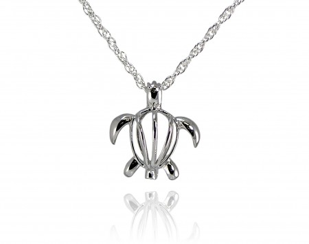 Wish Pearl Turtle Cage Pendant With Chain