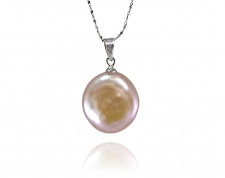 Peach Freshwater Coin Pearl Pendant