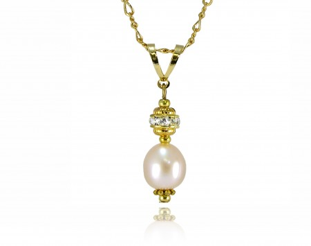 Peach Freshwater Pearl Pendanat With Crystal Elements