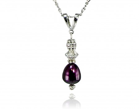 Plum Freshwater Pearl Pendant With Crystals
