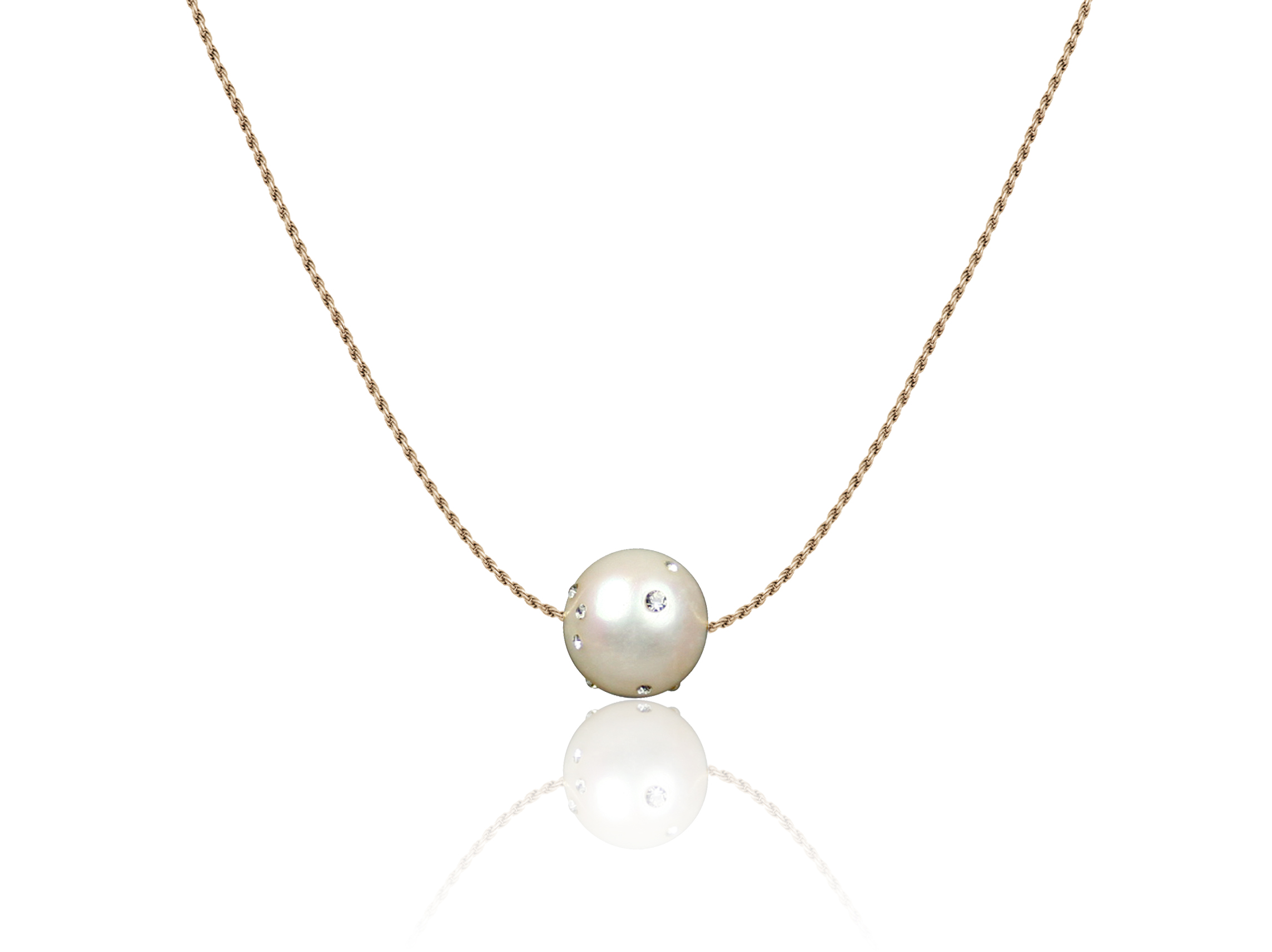 Freshwater Pearl with gold-filled chain and Swarovski Crystal