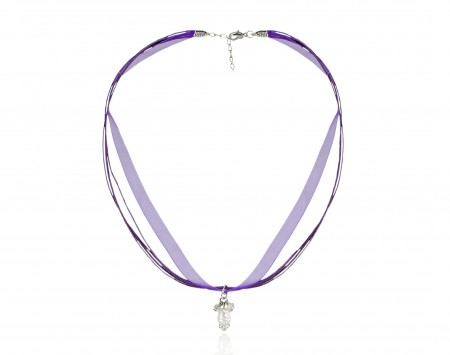 White Freshwater Pearl With Crystals Ribbon Pendant