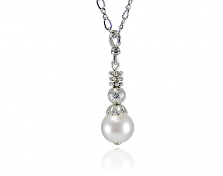 White Freshwater Pearl Pendant With Silver Elements