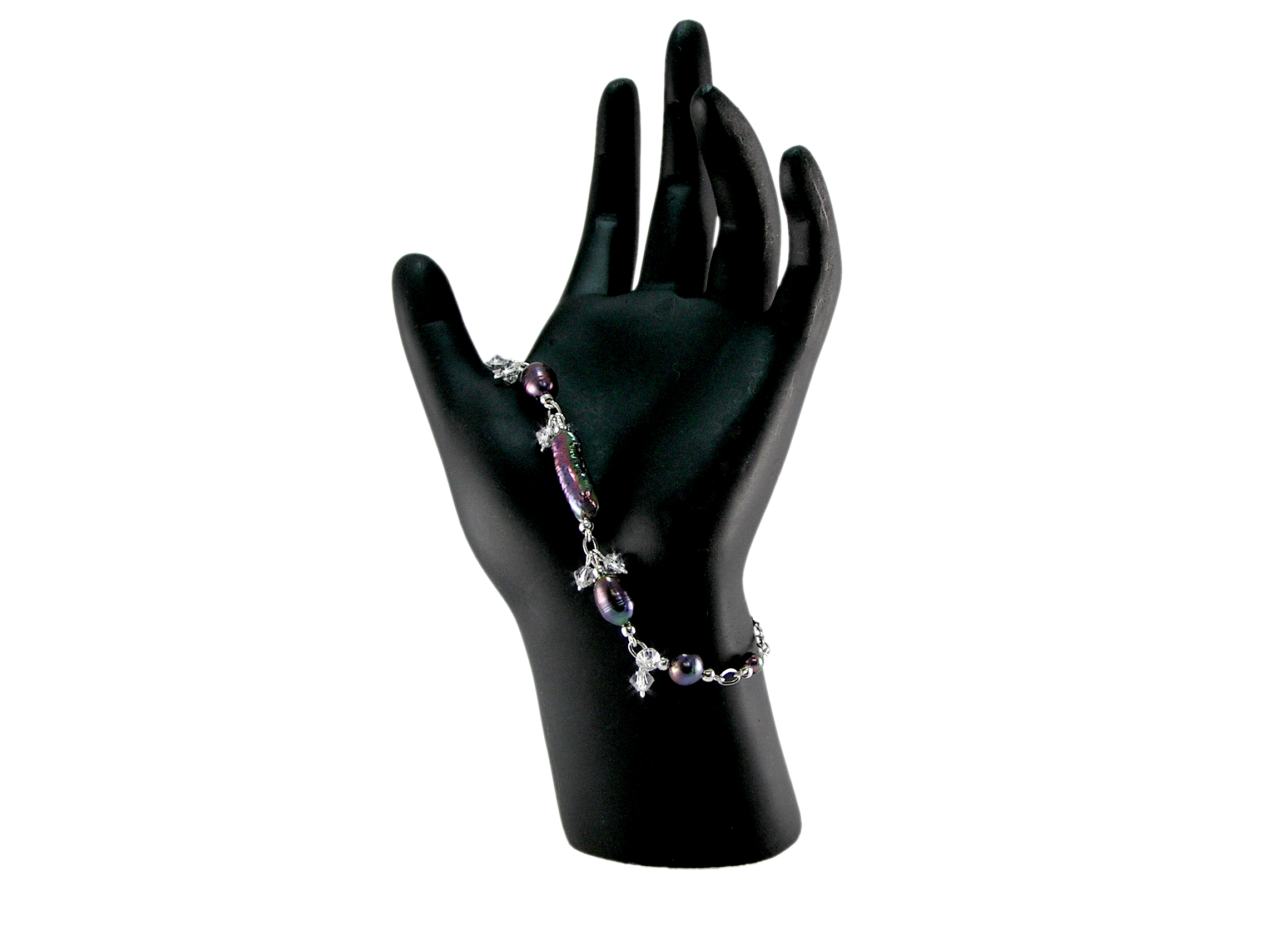 Black Freshwater Pearl Bracelet with Crystals