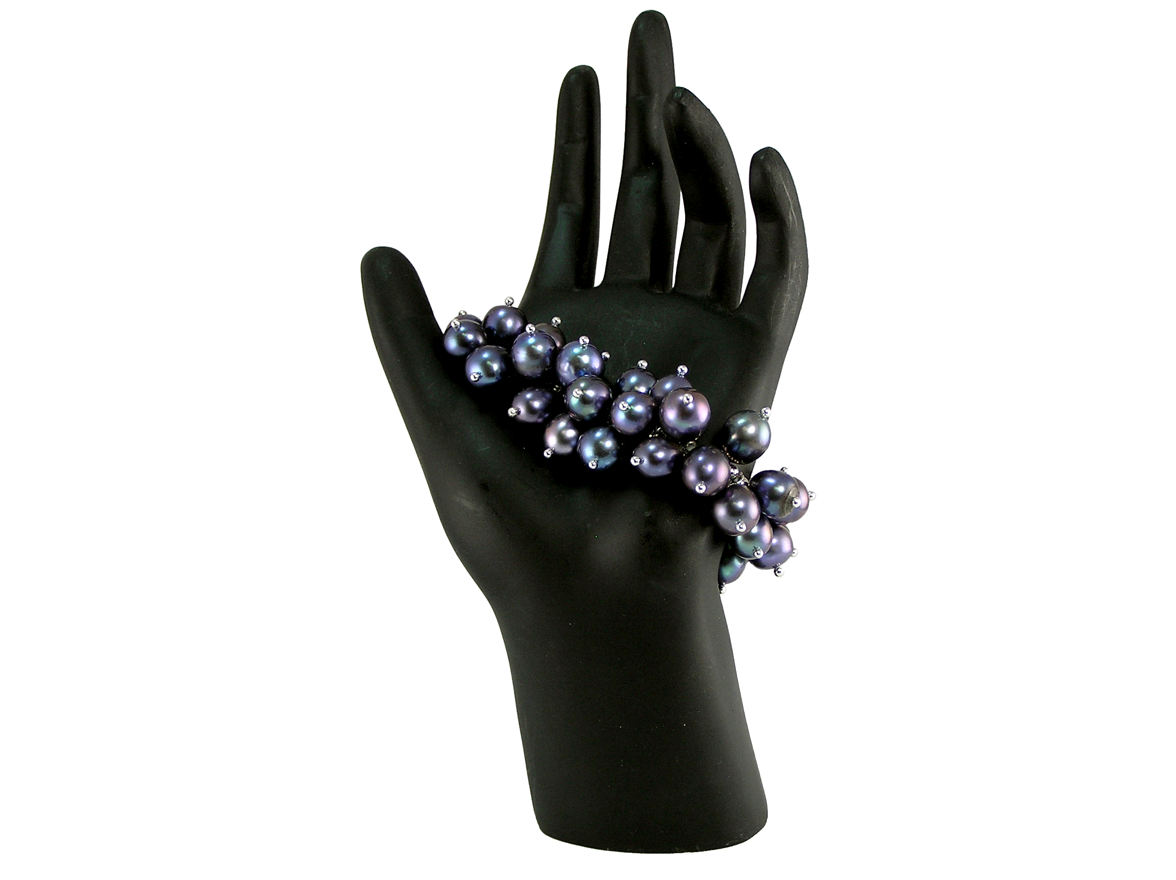 Black Freshwater Pearl Bracelet With Silver Beads