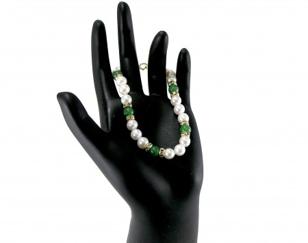 Jade And White Freshwater Pearl Bracelet
