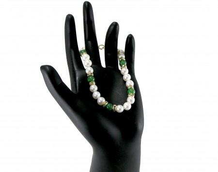 Jade And White Freshwater Pearl Bracelet