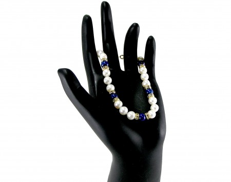 Lapis And White Freshwater Pearl Bracelet