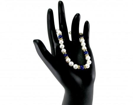 Lapis And White Freshwater Pearl Bracelet