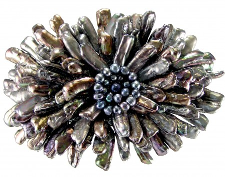 Black Freshwater Stick Pearl Brooch/Pin