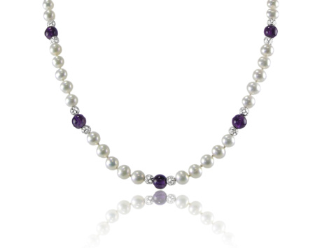 Freshwater Pearl and Amethyst Necklace with Silver tone Beads