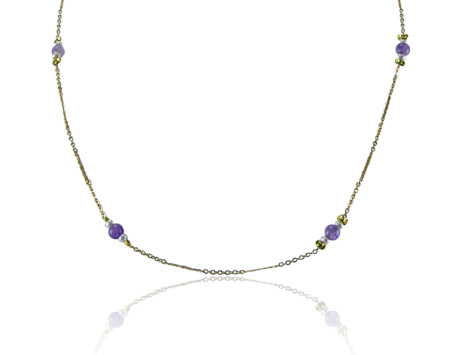 Gold plated chain necklace with amethyst and seed pearls