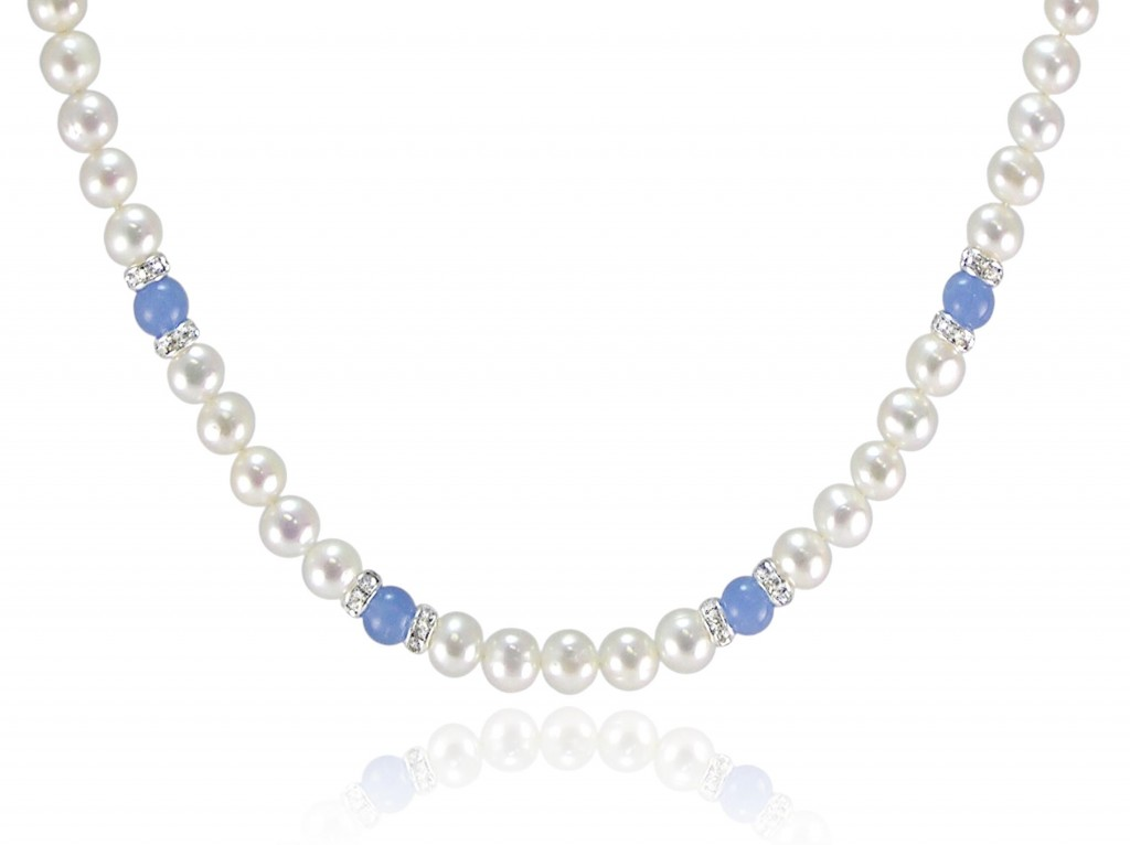 White Freshwater Pearl Necklace with Blue Quartz