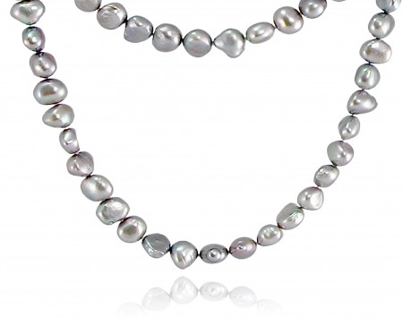Gunmetal Gray Freshwater Pearl Rope Necklace