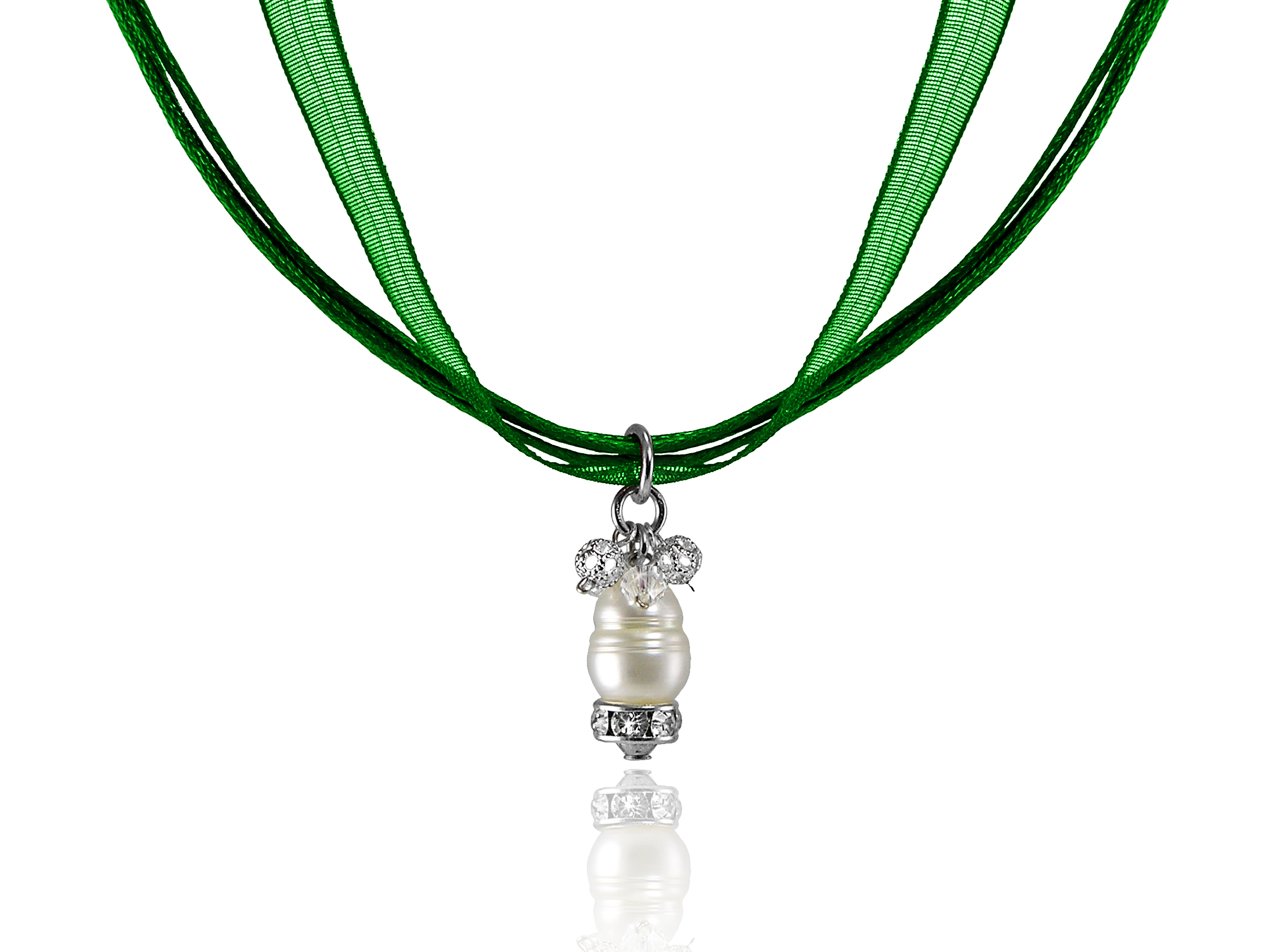 Green Ribbon Necklace with Ring Pearl