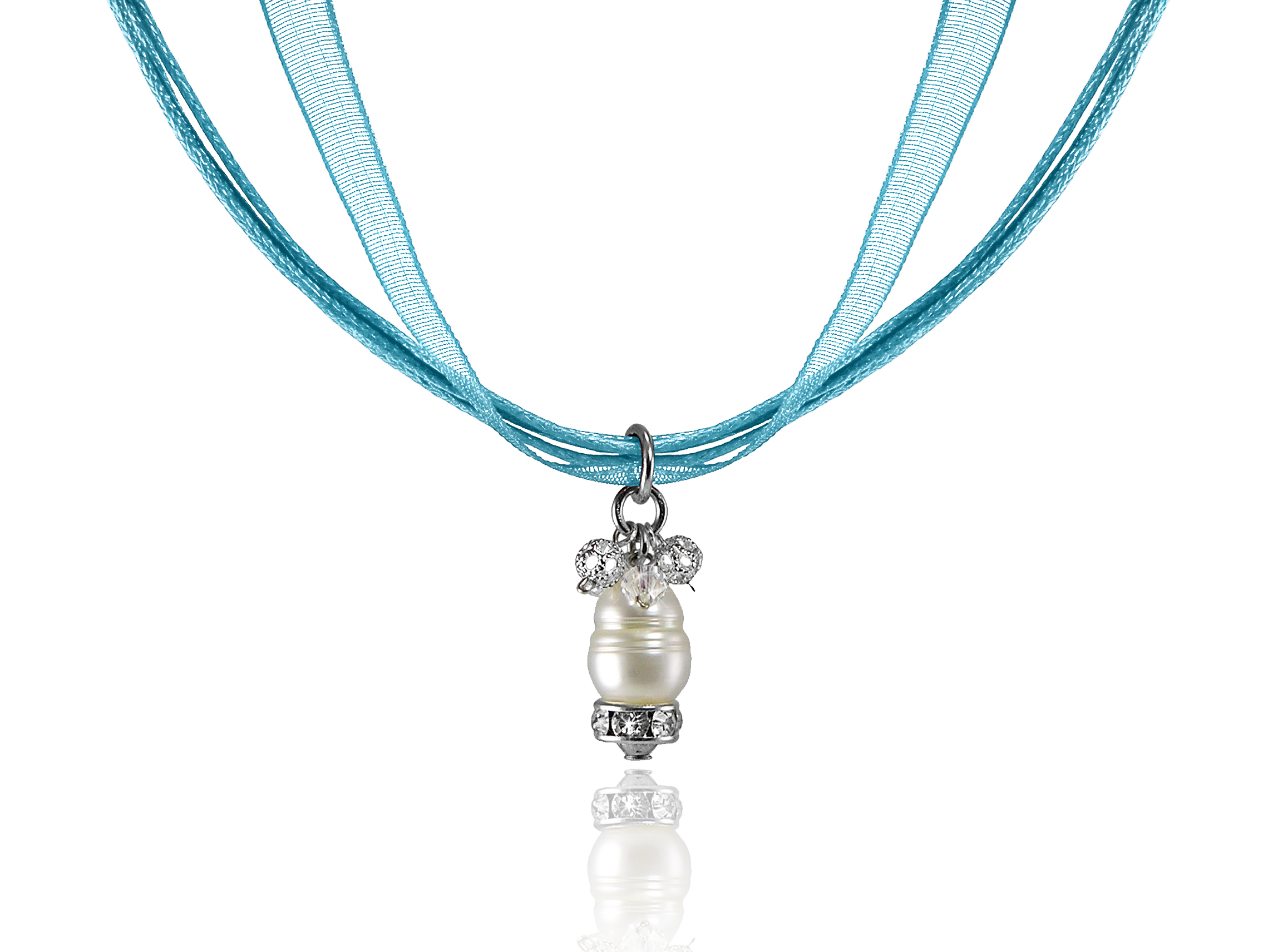 Aqua Ribbon Necklace with Ring Pearl