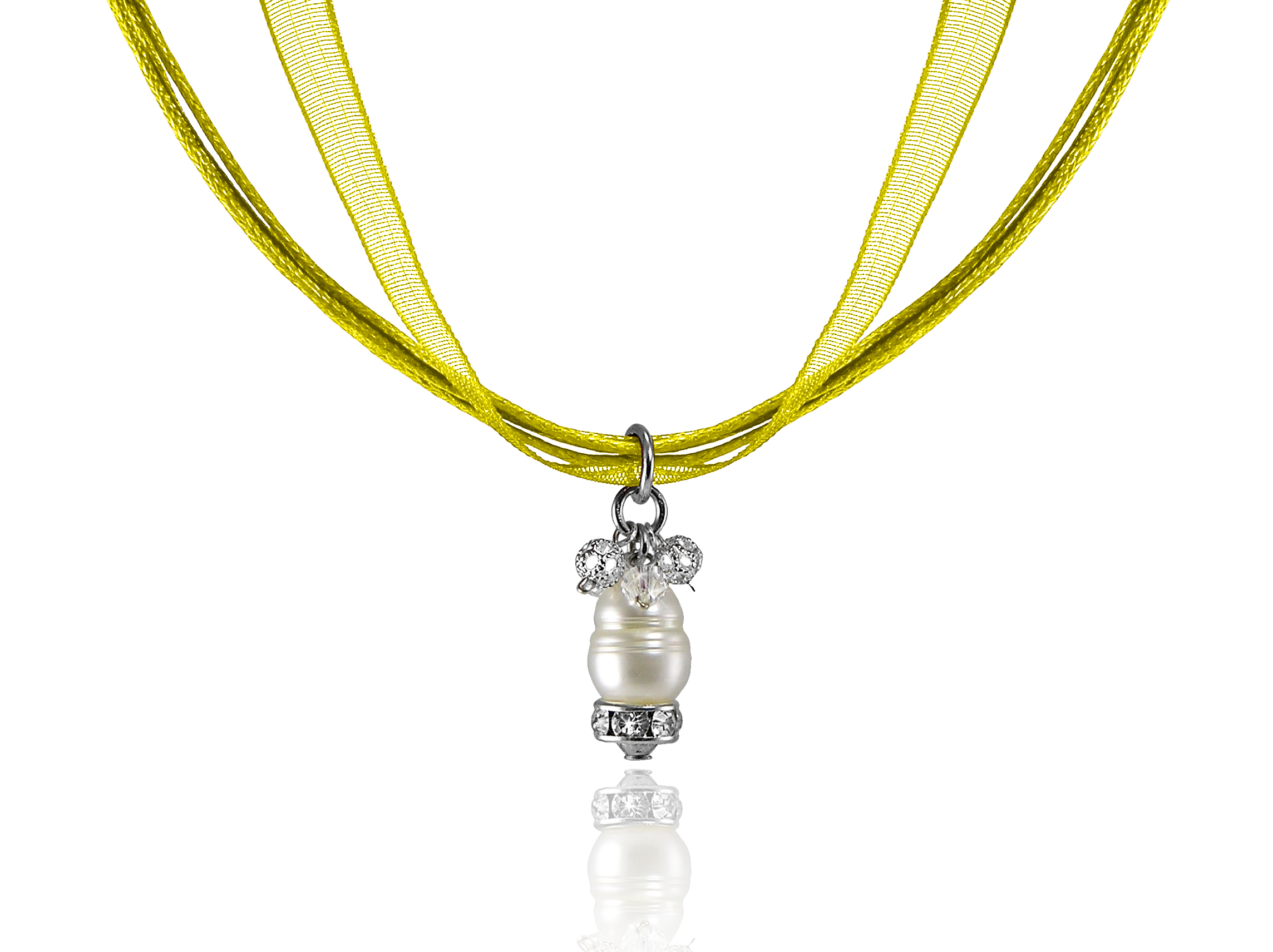 Yellow Ribbon Necklace with Ring Pearl