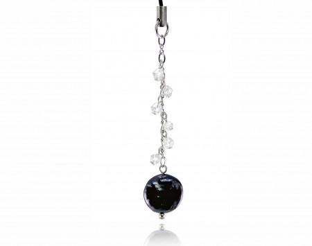 Black Freshwater Pearl Phone Charm