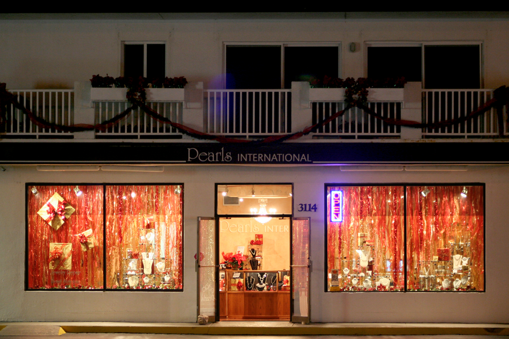 Pearls International at Night