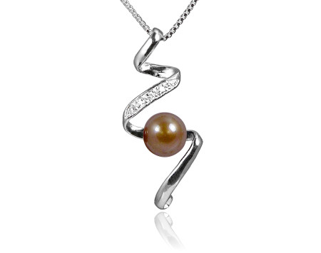 Chocolate Freshwater Pearl Pendant with Swarovski Crystal