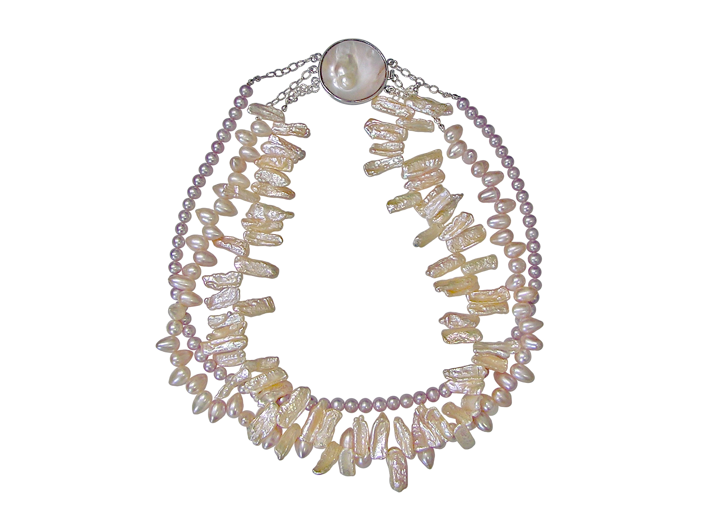 Triple Strand Pastel Freshwater Pearl Necklace with Mabé Clasp