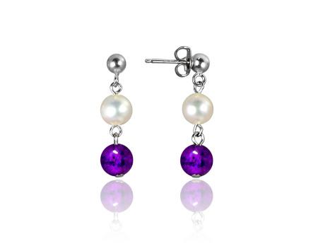 Freshwater Pearl and Amethyst Earrings