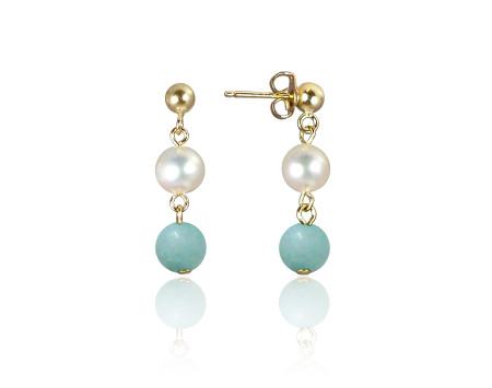 Freshwater Pearl and Amazonite Earrings