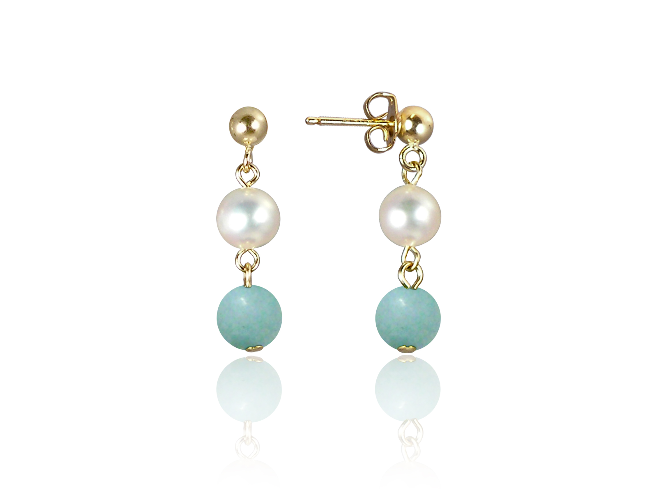 Freshwater Pearl and Amazonite Earrings