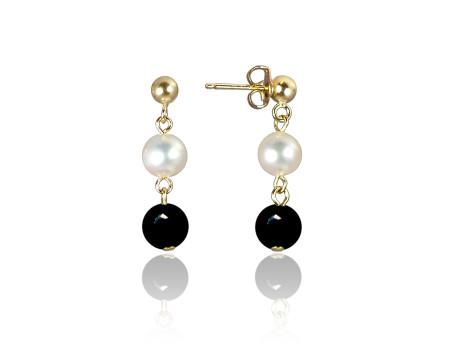 Freshwater Pearl and Black Onyx Earrings