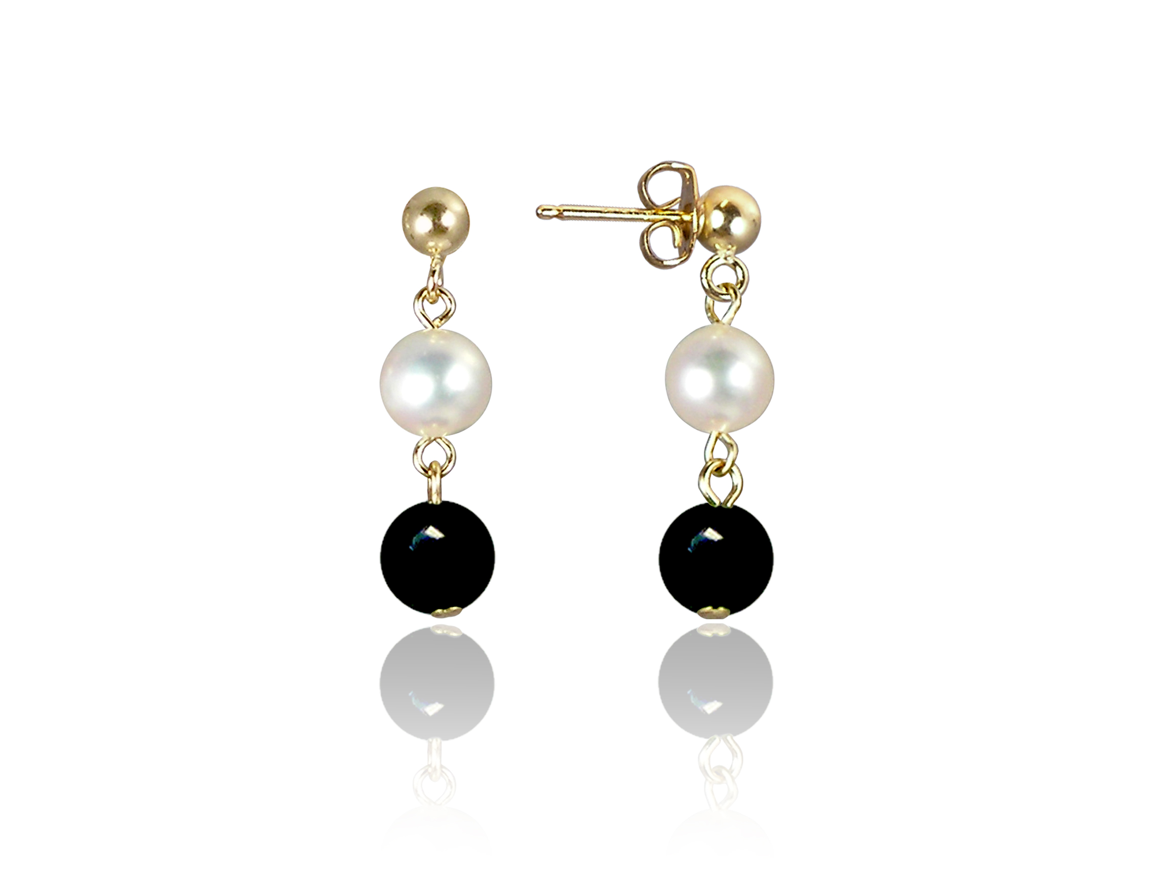 Freshwater Pearl and Black Onyx Earrings