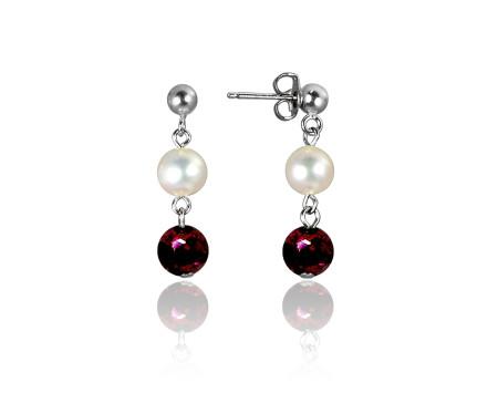 Freshwater Pearl and Garnet Earrings